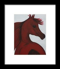Horse Painting Framed Print featuring the painting Red Arabian Passion 1 by THELLI Helenia Tedesco