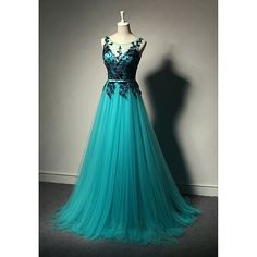 New Fashion Prom Dresses,Blue Prom Dress,Tulle Formal Gown,Lace