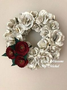 Blumenkranz Paper Flowers Wreath Paper Flowers Book Wreath Book Flowers image 3 Your One Year-Old's Paper Flower Wreaths, Paper Flowers Diy, Flower Crafts, Floral Wreath, Scrapbook Paper Flowers, Craft Flowers, Paper Roses, Old Book Crafts, Book Page Crafts