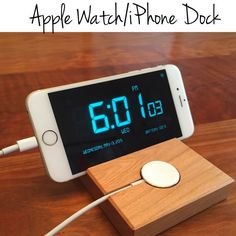 Apple Watch and iPhone 6 Docking Station - Charger - Walnut or Cherry Wood - Handmade