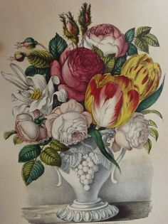 Currier & Ives 'Vase of Flowers' Art Print- Tulip Rose Lily Spring Arrangement- Still Life Floral Painting- Red Yellow Pink Green- cent Vintage Botanical Prints, Vintage Art Prints, Botanical Art, Botanical Illustration, Botanical Drawings, Flower Vases, Flower Art, Rose Lily, Currier And Ives
