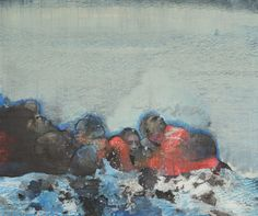 Mare Monstrum: Les peintures poignantes du périple des migrants par une artiste grecque|Georges Ranunkel Samos, Photo Reference, Beach Art, Photography, Painting, Image, Conversation, How To Paint, Artists