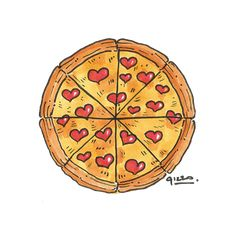 Illustration of a pizza with pepperoni hearts for a Valentine's day card - concept. Illustration of Pizza Kunst, Pizza Quotes, Pizza Life, Pizza Art, I Love Pizza, Cute Kawaii Drawings, Heart Illustration, Cafe Art, Pizza Restaurant
