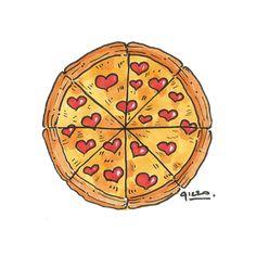 Pizza love - Illustration for Valentine's on Behance