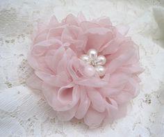 Gorgeous Blush Pink Chiffon Hair Clip Bridal Bride Bridesmaid