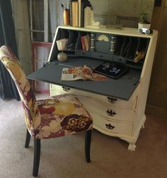 Antique Secretary Desk, Shabby Chic Furniture, Painted Distressed Furniture