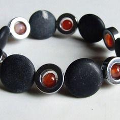 Bracelet jaspe sédimentaire agate et hématite pierres semi-précieuses sur fil élastique