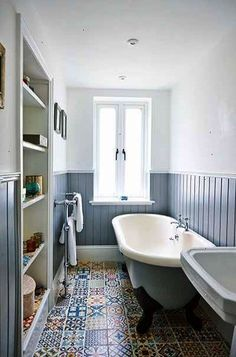 Apartment renovation bathroom blue wall cladding and moroccan tiles / Bathroom inspiration(Diy Apartment Bathroom) Bathroom Inspiration, Bathroom Interior, Windowless Bathroom, Small Bathroom, Apartment Renovation, Bathroom Floor Tiles, Trendy Bathroom, Bathroom Flooring, Bathroom Design Small