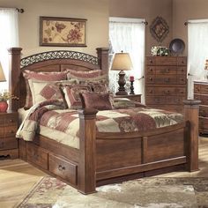 Lowest price online on all Ashley Timberline Wood Queen Double Drawer Panel Bed in Warm Brown - B258-60x2-64N-71N-77-98N-KIT