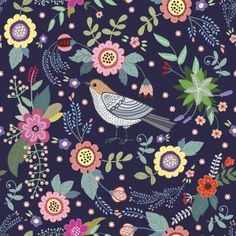Сut vintage pattern with a bird and flowers Art Print by Anna Yudina (via Society 6).