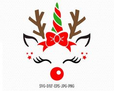 cute reindeer svg, Reindeer SVG, Boy and Girl Reindeer, Christmas SVG Cutting File Svg, CriCut Files svg jpg png dxf Silhouette Christmas Unicorn, Christmas Vinyl, Christmas Projects, Christmas Shirts, Silhouette Cameo, Silhouette Studio, Reindeer Silhouette, Unicorn Banner, Unicorn Face