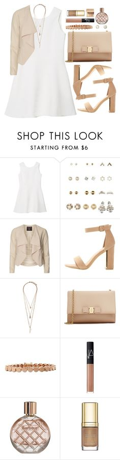 """""""Untitled #3702"""" by natalyasidunova ❤ liked on Polyvore featuring Charlotte Russe, Dorothy Perkins, Forever 21, Salvatore Ferragamo, Eddie Borgo, NARS Cosmetics, Barbour, Dolce&Gabbana and Bobbi Brown Cosmetics"""