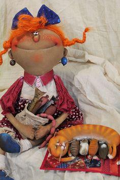 Купить Урожай... - комбинированный, текстильная кукла, ароматизированная кукла, интерьерная кукла, кошка, ткань, синтепух