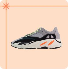 Designed by Kanye West, the wave runner was one of the first design shifts from a minimalist aesthetic to a chunky runner model. One Design, Yeezy Boost, Kanye West, Minimalist, Waves, Sneakers Nike, Adidas, Celebrities, Holiday