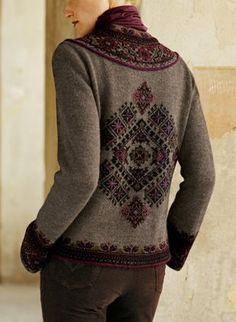 Star motifs echoing a Caucasus kilim fill a Fair Isle yoke and back diamond on Millma's heathery pure alpaca cardigan. Nicely detailed with yarn-covered buttons.
