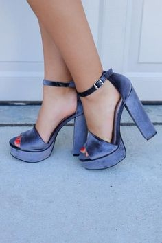 Velvet Smoke Heel height is 6 inches Platform height is 1.5 inches Open toe Buckle ankle strap Chunky heel
