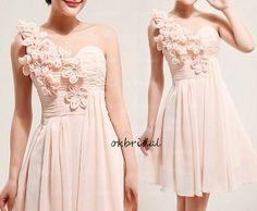 peach bridesmaid dress short prom dress short dresses by okbridal, $119.99