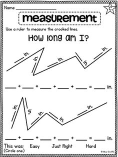 Measuring a crooked line for a challenge!! Love these worksheets from Miss Giraffe!