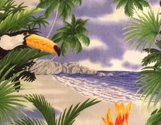 For quilt making and general sewing, this delightful outdoors nature themed fabric features large scale parrots, toucans, and cockatiels in a lush tropical setting. Perfect for clothing, quilts and home decor. The birds are wonderfully detailed! Some parrots measure over 5.5 long.