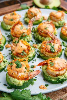 Blackened Shrimp Avocado Cucumber Bites - 42 pieces per tray - Fitness meals - Garnelen Low Carb Recipes, Cooking Recipes, Cheap Recipes, Easy Recipes, Light Recipes, Kitchen Recipes, Simple Healthy Recipes, Atkins Recipes, Health Recipes