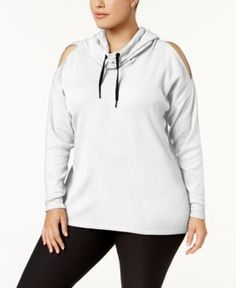 e05af598ce6 Calvin Klein Performance Plus Size Funnel-Neck Cold-Shoulder Hoodie - White