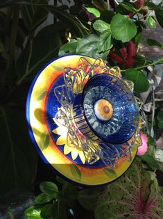 This very colorful backplate made a beautiful flower!  SOLD   MiMi's Flower Plates