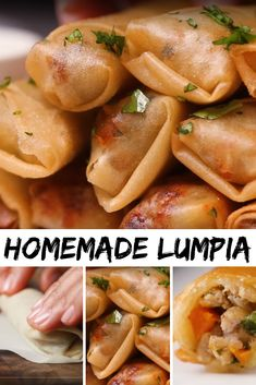 Homemade lumpia, best appetizers and lunch recipe. Lumpia Recipe Filipino, Filipino Food, Easy Lumpia Recipe, Filipino Dishes, Filipino Recipes, Best Appetizers, Appetizer Recipes, Lunch Recipes, Cooking Recipes
