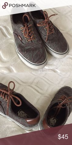"""Vans design shoes In fairly good condition. Looks like paisley design and shiny """"leather"""" looking material on back. Vans Shoes"""