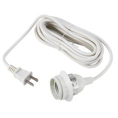 IKEA - HEMMA, Cord set, white, Light bulb sold separately. IKEA recommends LED bulb E26 globe opal white. Shade is sold separately. To be hung on a ceiling hook. 2 ceiling hooks are included.