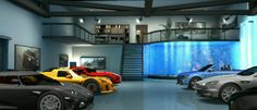 I know this isn't real but when I first saw it in Test Drive Unlimited I knew this could be the ultimate attached garage ever. Check out the stairs, balcony, and aquarium. Take note of the garage height - 2 Stories... for a lift and indoor basketball court.