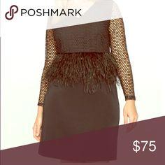 Eloquii peplum feather dress nwt Adorable Never worn size 16 feather peplum dress. Fits true to size Eloquii Dresses Mini