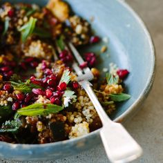 This healthy eggplant recipe includes both pomegranate and pomegranate syrup for flavor and texture.