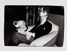 Andy Warhol, 1977, with Siamese cat