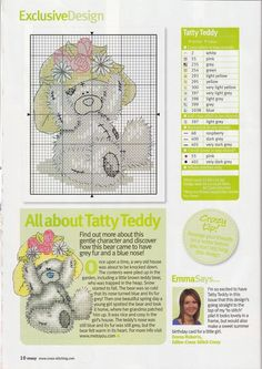 Free Tatty Teddy bear in cross stitch -Past Impressions