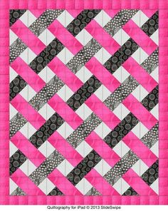 Easy woven quilt pattern -- triangles by Jenny Ann Morgan. - SR Close up shows the make up of individual blocks