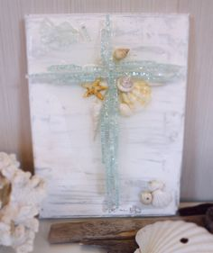 """Beach House Decor Glass Cross on 9"""" x 12"""" Canvas White and Silver with Real Seashells and Resin"""