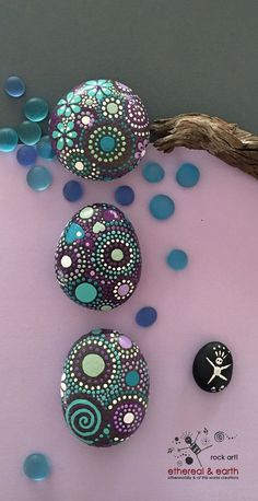 Painted Rocks, Mandala Inspired Design, Natural Home Decor, Free US Shipping…: