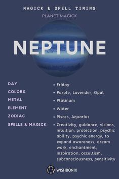 How to use the planetary energies of the Neptune in your spells and magick. Choosing the right day to cast a spell does not need to be a long and involved process. Moon Phase Astrology, Jupiter Astrology, Astrology Planets, Learn Astrology, Zodiac Signs Astrology, Astrology Numerology, Pisces Zodiac, Astrological Symbols, Mayan Symbols