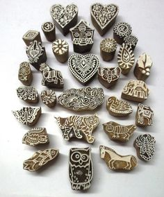 LOT OF 30 WOODEN HAND CARVED TEXTILE PRINTING FABRIC BLOCK STAMP PATTERNS GIFT