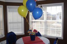 bucket and balloons