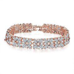 Buy Swiss Cubic Zirconia 18K Rose Gold Plated Splendid Fashionable Bracelet