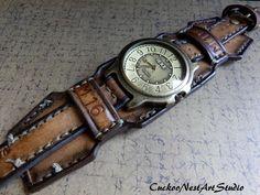 Leather Wrist Watch Men's watch Leather by CuckooNestArtStudio, $149.00