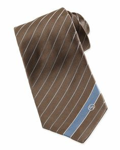 Striped Silk Tie, Brown/Blue by Gucci at Neiman Marcus.