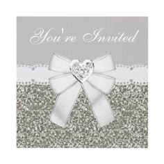 Silver glitter, white sparkle bling heart jewel, diamond ribbon and white bow elegant birthday party invitations. Easy to customize. Printed both sides. $1.95. Good volume discounts. Great for teen girls and anyone who loves a touch of glamour & sparkle!