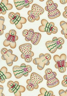 GINGERBREAD COOKIES On Cream Fabric