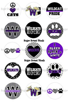 INSTANT DOWNLOAD Black White Wildcats School by sugarnspicebow