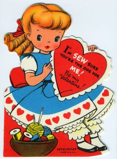 """for Valentines day. =) Wonderfully cute vintage """"Sew sure you're the one"""" Valentine's Day card. Valentine Images, My Funny Valentine, Vintage Valentine Cards, Vintage Greeting Cards, Vintage Holiday, Valentine Day Cards, Vintage Postcards, Happy Valentines Day, Valentine Hearts"""