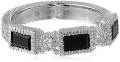 Judith Ripka 'Estate' Narrow Three-Baguette Onyx Black Band -- You can find out more details at the link of the image.