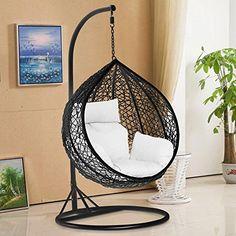 tinkertonk Garden Patio Rattan Swing Chair Wicker Hanging Egg Chair Hammock w/Cushion