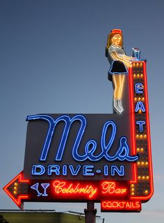 Mel's DriveIn Neon sign color Photograph 8x10 by melran on Etsy, $18.00